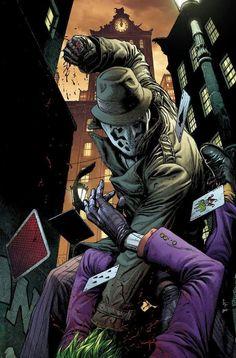 "longlivethebat-universe: ""Rorschach vs The Joker Doomsday's Clock "" Comic Book Characters, Comic Character, Comic Books Art, Comic Art, Book Art, Marvel Dc Comics, Dc Comics Art, Cinema Art, Doomsday Clock"