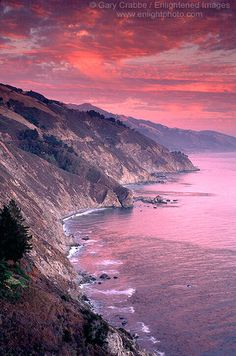 Alpenglow on clouds at sunset over the Big Sur Coast, Monterey County, California by enlightphoto via flickr