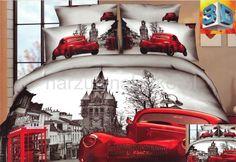 Big Ben czerwone auto modna szara pościel 3D