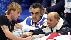 Plushenko of Russia speaks with choreographer Avdish and coach Mishin during a figure skating training session in preparation for the 2014 Sochi Winter Olympics in Sochi | View photo - Yahoo News