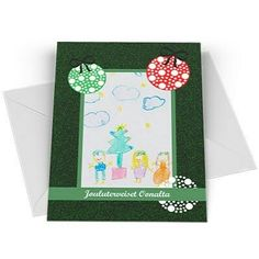 Lapsen piirustuksesta joulukortti
