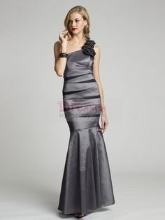 One shoulder ombre color mermaid dress taffeta  | Fashion Mermaid One Shoulder Hand-Made Flower Sleeveless Floor-length ...