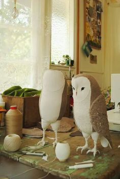 Two new owls on my work table this week... www.willowynn.com