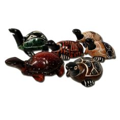 """1 Turtle Tiny Feng Shui Statue Art African Stone Gift Ideas  Stunning TINY hand carved, hand painted stone animal figures.  Amazing to see such excellent quality in something so tiny.  Measuring just over 2"""" tall and all done by hand. Buy one of each and start your own very unique collection of tiny animals!  Hand carved soapstone Turtle by Kenyan artisans."""