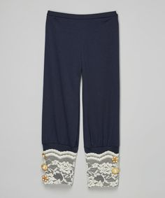 Another great find on #zulily! Navy & Ivory Lace Pants - Toddler & Girls #zulilyfinds