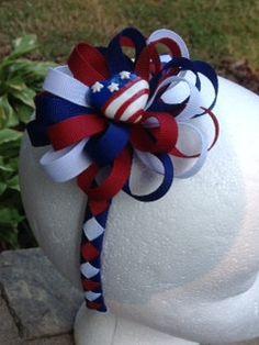 4th Of July Woven Headband w/Detachable Flower Loop Hair Bow by stefaniesbownanza on Etsy