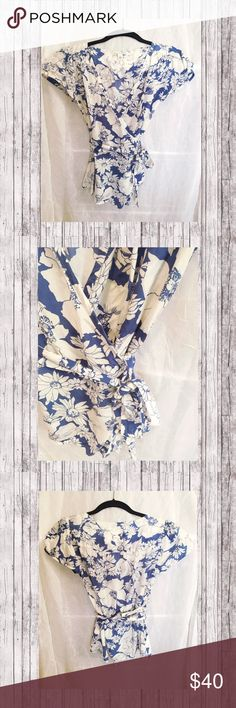Banana Republic Wrap Short Sleeve Blouse Beautiful floral silk blouse! Like new ❤️ Blue and white compliments any skin tone! Banana Republic Tops Blouses