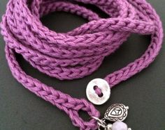 Crochet wrap bracelet with charms, orchid, cuff bracelet, bohemian jewelry, wrist band, crochet jewelry, spring fashion, coffycrochet