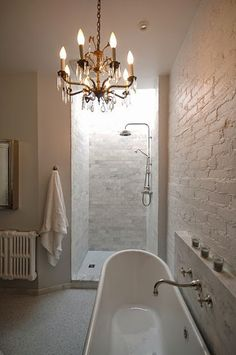 kind of like the white painted brick for our bathroom || South Shore Decorating Blog: 30 Rooms I Love