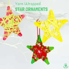 Friday Afternoon for Sam & Kate. YARN WRAPPED STAR ORNAMENTS are a fun popsicle stick craft to build fine motor skills. They look great hanging on the Christmas tree, as a bedroom mobile or for a Space themed study topic. Christmas Yarn, Christmas Tree Star, Preschool Christmas, Christmas Sewing, Christmas Ideas, Christmas Ornaments, Christmas Projects, Holiday Ideas, Christmas Holidays