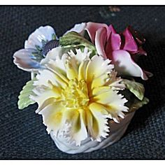 Staffordshire Bone China Flower Basket Figurine
