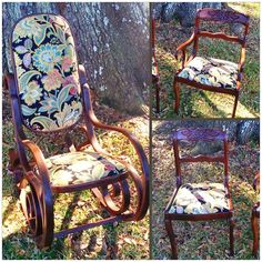 Very cool antique rocker and side chairs.  Custom upholstery in a charming floral, and refinishing to match.