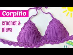 DIY top bikini tejido a crochet Crochet Bra, Crochet Video, Crochet Bikini Pattern, Crochet Crop Top, Crochet Shawl, Crochet Clothes, Easy Crochet, Free Crochet, Tuto Tricot