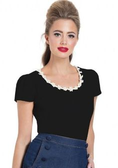da90ac939b20bb Voodoo Vixen Debbie Basic Cotton Top Red Black White Daisy Jersey Blouse  S-4X #