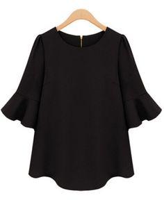 Half Sleeve Flouncing Chiffon Black BlouseFor Women-romwe
