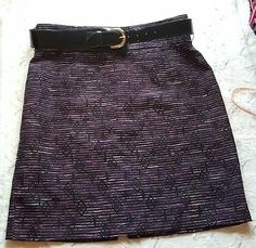 Antonio Melani Belted Skirt Plus Sz 14 Black Purple Metallic Pencil High Waisted