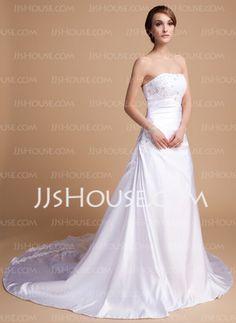 Pretty... A-Line/Princess Sweetheart Chapel Train Charmeuse Wedding Dresses With Beadwork (002014492) - JJsHouse