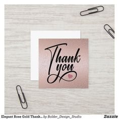 Elegant Rose Gold Thank You Square Business Card
