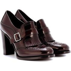 Church's Leather Brogue Pumps (£450) ❤ liked on Polyvore featuring shoes, pumps, brown, leather pumps, real leather shoes, balmoral shoes, brown leather pumps and church's shoes