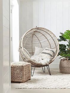 Round Rattan Cocoon Chair NEW Round Rattan Cocoon Chair – Luxury Chairs – Luxury Seating – Luxury Home Furniture - Mobilier de Salon Rattan Egg Chair, Rattan Furniture, Rustic Furniture, Antique Furniture, Outdoor Furniture, Chair Cushions, Furniture Ideas, Furniture Design, Upholstered Chairs