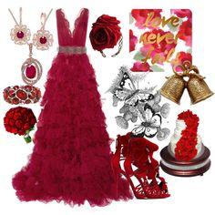 Crimson Wedding by ruaorlia13 on Polyvore featuring polyvore fashion style Marchesa Giuseppe Zanotti Effy Collection Annina Vogel Gerber