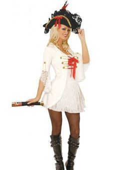 Free Shipping 2013 hot selling women's lace-up front coatdress white plus size pearl pirate captain costume  with hat $25.82