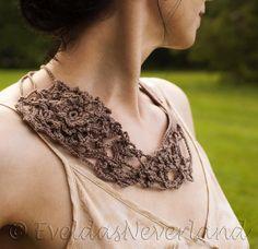 Wild Rose - Freeform Crochet Necklace Crochet Neckwear Bib Neckpiece Fiber Jewelry Statement Jewelry OOAK Wearable Fiber Art in taupe