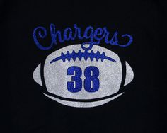 Custom Football Shirt, Long Sleeves, Sweatshirt -customize for your school name (Chargers Football shown), team colors and player number! Custom Football Shirts, Sports Mom Shirts, Team Shirts, Girls Football Boots, Football Outfits, Football Heart, Football Spirit, Football Moms, Football Season