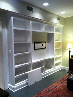 I recently finished helping design and install a custom built-in for a friend's family room and thought I would share it with all of you. Built In Shelves, Diy Table, Nooks, Bookshelves, Shelving, Family Room, Tables, Nice, Building