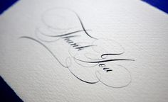 Thank you card in copperplate calligraphy