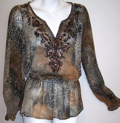 Rena Renee Top M Bohemian Chic Silky Beads Sequins Hippy Peasant Shirt Blouse M #RenaRenee #Blouse #Casual