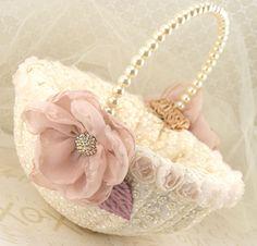 Flower Girl Basket Bridal Basket in Ivory Blush Pink, Gold, Lilac and Champagne- Vintage Touch via Etsy