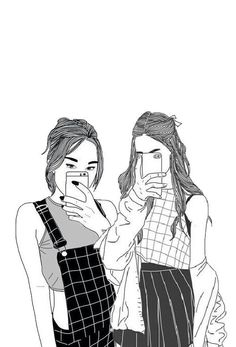 Selfies with my bff Best Friend Drawings, Tumblr Drawings, Girly Drawings, Best Friend Pictures, Bff Pictures, Pictures To Draw, Tumblr Girl Drawing, Cute Girl Drawing, Bff Pics