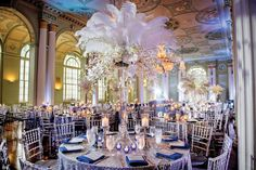 blue and silver wedding reception-silver bling wedding-wedding-white feathers-biltmore wedding