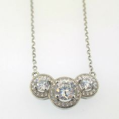 """Sterling Silver CZ Three Stone Halo Pendant on 17.5"""" Chain Necklace - American Antiques and Jewelry"""
