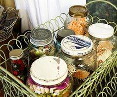 Scrapbooking and craft organizing storage.  Stash Hard-To-Store Items In Canning Jars