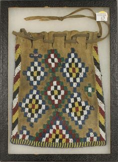 """Apache beaded pouch in frame, 9"""", 1880-90"""