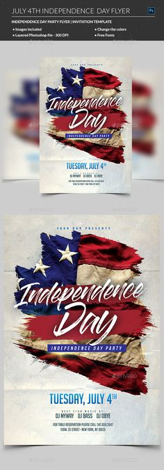 Flag Day 4th of July Flyer Event flyers, Flyer template and - independence day flyer