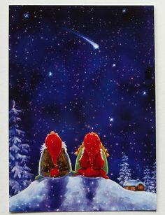 Gnomes Looking at The Shooting Stars Sweden Tomte Nisse Santa Elf Card | eBay