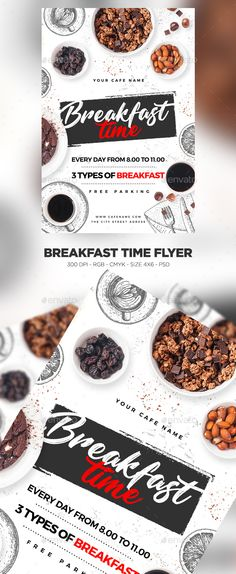 Buy Breakfast Time Flyer by MaksN on GraphicRiver. File info: Flyer Name: Breakfast Time Flyer Size: with bleed Mode: CMYK-RGB Files included: 2 PSD Editable F. Menu Brunch, Breakfast Menu, Breakfast On The Go, Breakfast Time, Best Breakfast, Bacon Breakfast, Restaurant Poster, Restaurant Restaurant, Restaurant Design