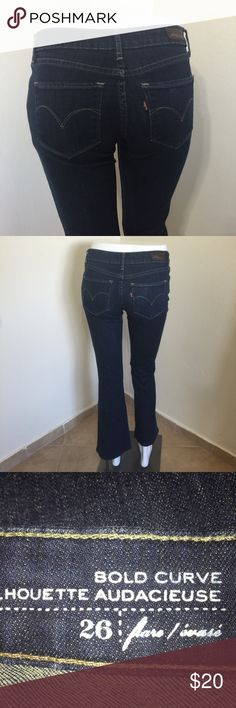 Levi's Bold Curve Petite Flare Bootcut Jeans W26 Label- Levi's  Style- Bold Curve Silhouette Audacious A Stretchy Flare Bootcut Jean, Petite proportions, extreme low rise in front, higher in back, very flattering. Size- 26 Shown on a size 2 mannequin,  Fits perfect in body, Too short for her (tag says length is 34, not even close-28 Measurements-W-26 Hip-36 Length- 28 Rise-7 Leg Opening-9 inches  Color- Classic medium blue  Fabric-99% Cotton, 1% Spandex Condition-Worn and washed once, in…