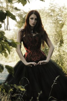 Gotika: Black and Red Corset with Full Black Tulle Skirt.