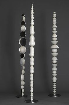 'Totem' by Australian sculptor Roger Auer. Ceramics, stainless steel