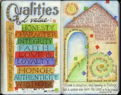visual blessings; valuable moral qualities.  Scripture art & Bible journaling.