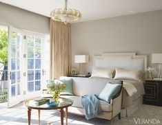 Uncluttered style creates a background of serenity in this master bedroom.Glant linen-cotton for headboard and bedskirt. Nancy Corzine silk-cotton on pillows. Rose Cumming silk with Samuel