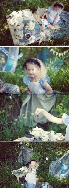 Alice in Wonderland inspired kids photoshoot, super cute! Maybe Jordana will want a mad hatter tea party that she can actually attend when she is born. :)