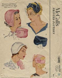 "Vintage Hat Sewing Pattern | McCall's 1690 | Year 1952 | Headsize 23"" - Theatre Bags 5' x 8"""