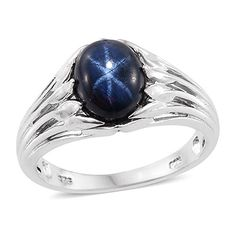 Blue Star Sapphire Platinum Plated Silver Ring