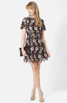 Free shipping and returns on Topshop Floral Lace Fit & Flare Dress at Nordstrom.com. A dark lining underscores the bright floral-lace overlay of a sweetly retro dress designed with a demure high neckline and short sleeves. An inset waist defines your figure while a flirty hemline accentuates your legs.