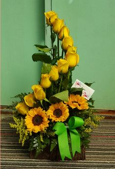 me ~ Beautiful sunflower arrangement! Make sure to call us or stop in for any custom arrangements you need :) Modern Floral Arrangements, Creative Flower Arrangements, Flower Arrangement Designs, Church Flower Arrangements, Church Flowers, Rose Arrangements, Beautiful Flower Arrangements, Funeral Flowers, Beautiful Bouquet Of Flowers
